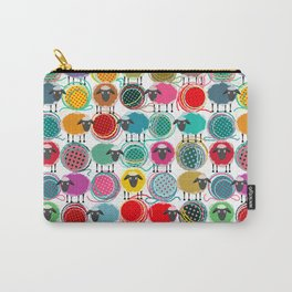 Bright Sheep and Yarn Pattern Carry-All Pouch