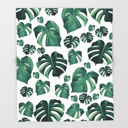 Tropical Monstera Pattern #3 #tropical #decor #art #society6 Throw Blanket