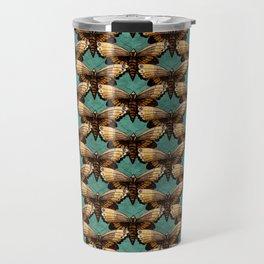 Brown Moths On Teal Travel Mug