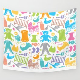 seamless pattern with baby icons Wall Tapestry