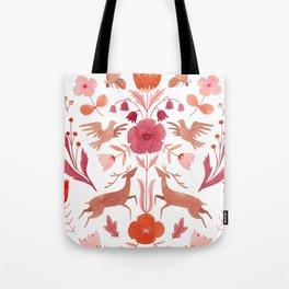 Bees, Deer & Birds Pattern Tote Bag