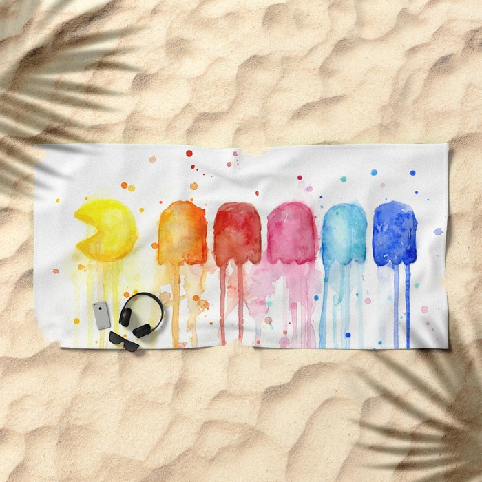 Retro Rainbow Geek Video Game Art Beach Towel