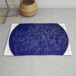 Constellation Stars blue space map on gold marble Rug