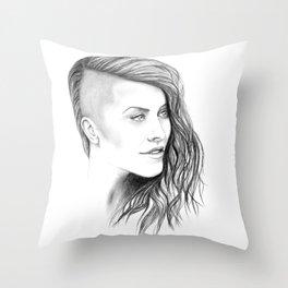 Simone - Original Portrait Drawing Throw Pillow
