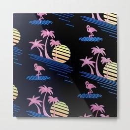 sea flamingo bird beach blue pink Metal Print