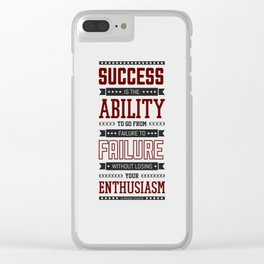 Lab No.4 Success is the ability Sir Winston Churchill Inspirational Quotes Clear iPhone Case