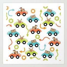 Critter Cars Art Print