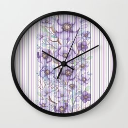 Watercolor purple lavender lilac floral stripes Wall Clock