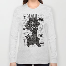Seattle Illustrated Map in Black and White - Single Print Long Sleeve T-shirt