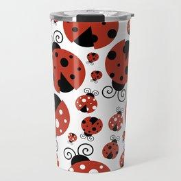 Ladybugs (Ladybirds, Lady Beetles) - Red Black Travel Mug