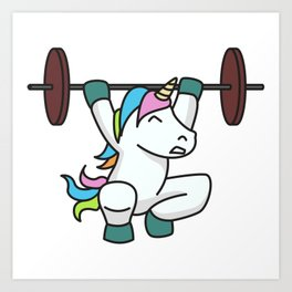 Weightlifting Unicorn fitness gift idea gym weight Art Print