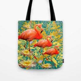 Modern Teal Art Saffron Flamingos  Water Lilies Tote Bag