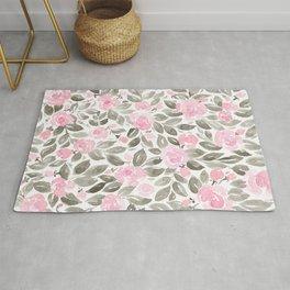 "Loose watercolor florals in pink and grey, ""Miriam"" Rug"