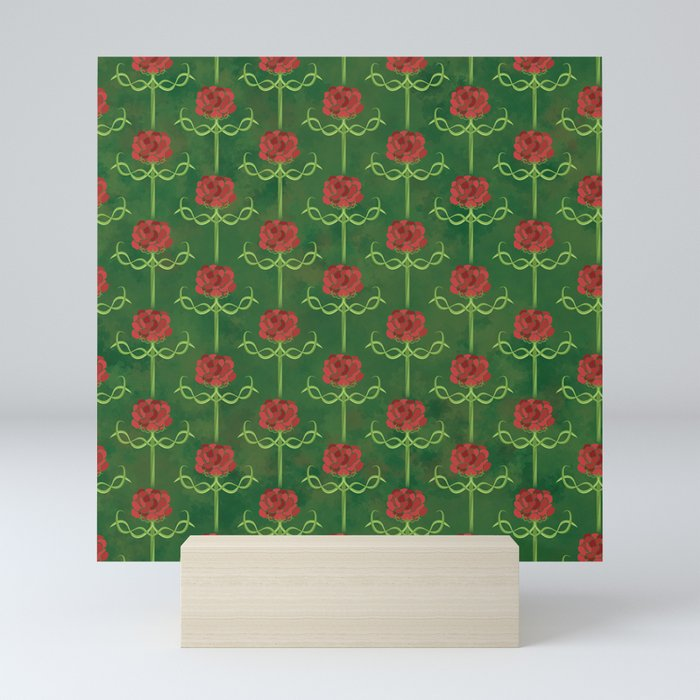 Spring Roses Pattern Mini Art Print