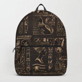 Egyptian hieroglyphs and deities - gold on wood Backpack
