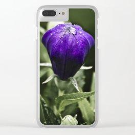 Fresh Raindrops on Purple Clear iPhone Case