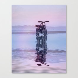 Where the Journey  begins Motorcycle at the Water Sunset Canvas Print