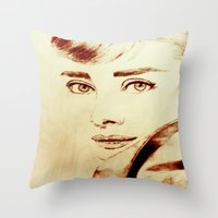 audrey hepburn Throw Pillows featuring Audrey Hepburn by Farinaz K.