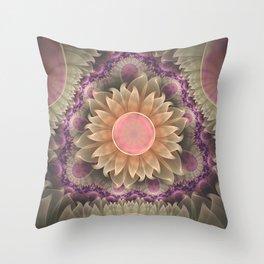 Pastel Pearl Lotus Garden of Fractal Dahlia Flowers Throw Pillow