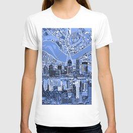 louisville city skyline blue T-shirt