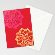Happy bright lace flower - red Stationery Cards