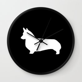 Corgi black and white welsh corgi silhouette dog breed custom dog patterns Wall Clock