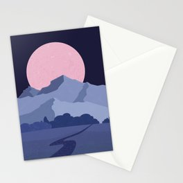 Pink moon abstract night landscape Stationery Cards