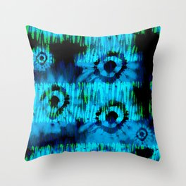 Blue and Green Tie Dye Throw Pillow