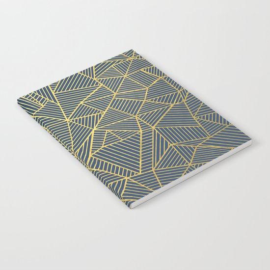 Ab Lines Gold and Navy Notebook