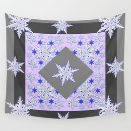 DECORATIVE GREY SNOW CRYSTALS  WINTER ART Wall Tapestry