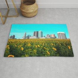 Columbus Ohio Skyline and Sunflowers Rug