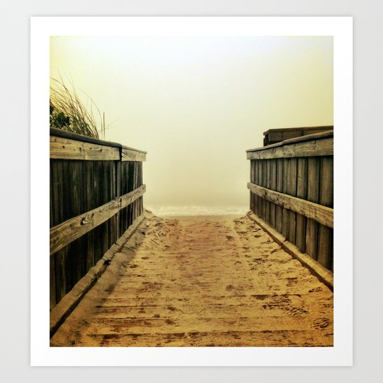 Foggy Beach Art Print