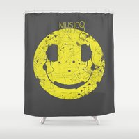 wiz khalifa Shower Curtains featuring Music Smile V2 by Sitchko Igor