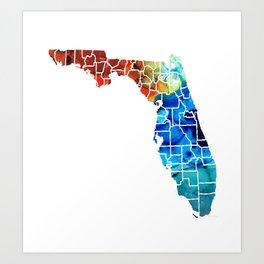 Florida - Map by Counties Sharon Cummings Art Art Print