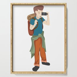 A Perfect Gift For Your Sibling Or Friend An Illustration Of  A Boy Capturing Pictures T-shirt Serving Tray