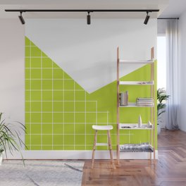 Geometric collage grid pattern in lime Wall Mural
