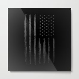 Grey Grunge American flag Metal Print