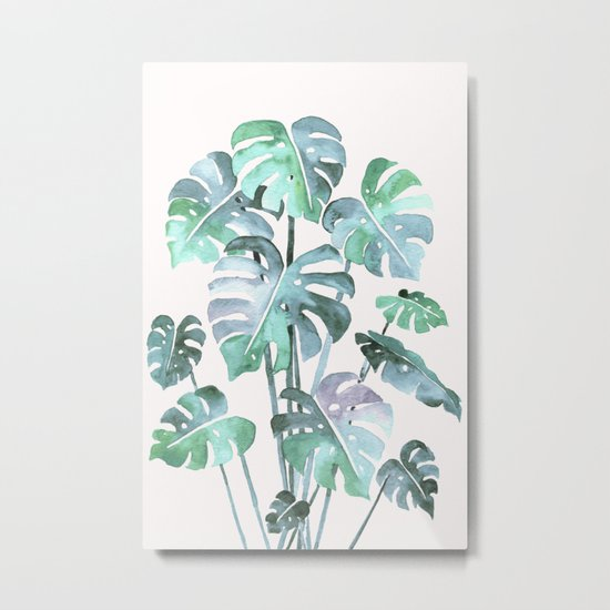 Delicate Monstera Blue And Green #society6 Metal Print