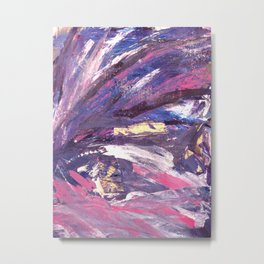 Abstract in Purple and Glitter Metal Print