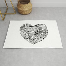 Floral heart for Valentines day Rug
