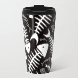 Fish Bone Black & White Travel Mug