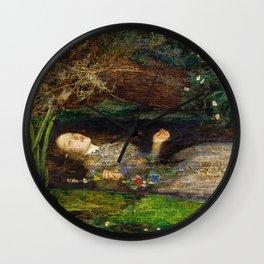 Ophelia Brick Wall Painting by Sir John Everett Millais Wall Clock