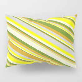 Eyecatching Green, Goldenrod, Light Gray, Yellow & Beige Colored Lined/Striped Pattern Pillow Sham