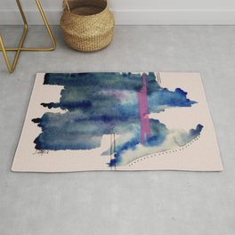 Pour: a blue and purple abstract watercolor Rug