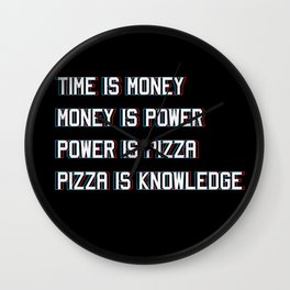 Pizza Is Knowledge Wall Clock