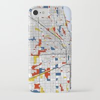 chicago map iPhone & iPod Cases featuring Chicago by Mondrian Maps