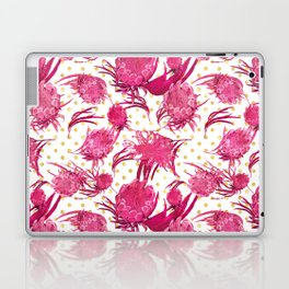 Pink and Gold Australian Native Floral Pattern - Protea, Grevillea and Eucalyptus Laptop & iPad Skin