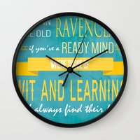ravenclaw Wall Clocks featuring Wise Old Ravenclaw by MilkP