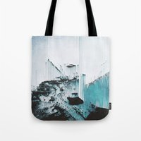 glitch Tote Bags featuring Glitch by SUBLIMENATION