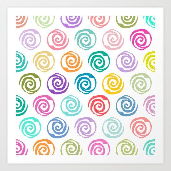 Circles Abstract Seamless Pattern Art Print